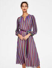 (162) Boden multi striped soft silky chiffon Kathleen midi dress size UK 12 Reg