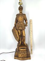 "Antique Large Copper/Gold Color Medieval Knight in Armor Lamp 30""  ~20Lbs"