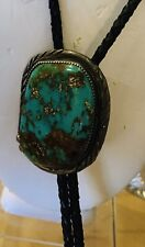 Large Mens Western Bolo Tie/ Sterling Silver With Genuine Turquoise