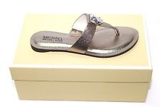 Michael Kors 40S5HAFA1M Hamilton Flat Nickel Metallic Leather Sandal Sz 6m NIB