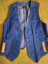 Vintage 70s Sears Jeans Joint Men's 38R Blue Denim Vest Button Front Pockets