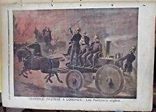 Ancienne Gravure 1891 Terrible incendie à Londres - les Pompiers Anglais