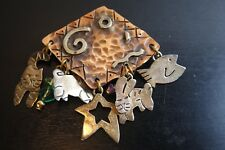 Vintage Mixed Metal Copper Sterling Silver  Dangles Signed  Cobre  Pin Brooch