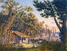 Settlers pioneers log cabin steamboat riverboat print CHOICE 5x7 or request 8x10