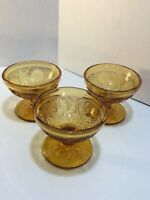 3 TIARA AMBER GLASS INDIANA SANDWICH PATTERN FOOTED DESERT/FRUIT DISHES