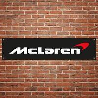 McLaren Banner Garage Workshop PVC Sign Trackside Motorsport Car Display Black