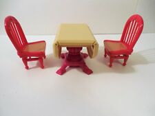 Fisher Price Loving Family Dollhouse Table w/ Drop Sides and Two Chairs