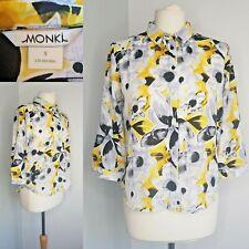 MONKI Shirt Blouse Yellow Black Floral Work Collar Small