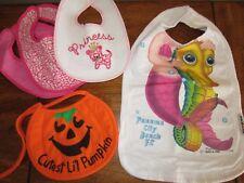 Lot of 5 Baby Girls Bibs by Add A Kid Pink Leopard Mermaid