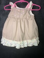Guess Baby Girl Tan With Flowers Dress Size 3/6mo