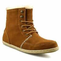 Ladies Womens Flat Leather Suede Warm Fur Lined Winter Ankle Boots Shoes Size