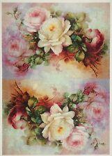 Carta di riso-BUNTE BIG ROSE Bouquet-Per Decoupage Scrapbook Craft sheet