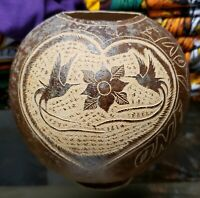 Vintage ONE LOVE Carved Coconut Shell Folk Art Signed McLeod