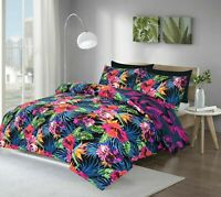 Tropical Floral Multicolor Duvet Quilt Cover & Pillowcases Bedding Set All Sizes