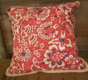 Ralph Lauren Villa Martine Red/Blue Stripe/Floral Throw Pillow NEW