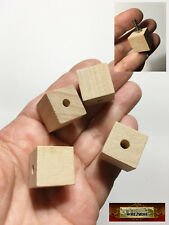 "M01501 MOREZMORE HPA 4 Wooden 3/4"" Cube Bead 3/16"" Hole Unfinished Wood"