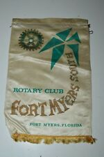 Vintage Fort Meyers South Florida Rotary Club International Flag Wall Banner HTF