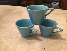 SET OF 3 VINTAGE HOMER LAUGHLIN HARLEQUIN COFFEE / TEA CUPS TURQUOISE BLUE OLD