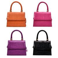 Alligator Pattern Leather Crossbody Handbag Women Solid Shoulder Tote Purse