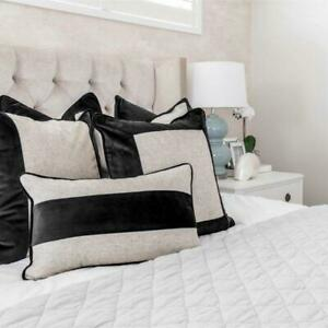 FLYNN Black and Silver Jute Mid Strip Velvet Cushion Cover 30 cm by 50 cm