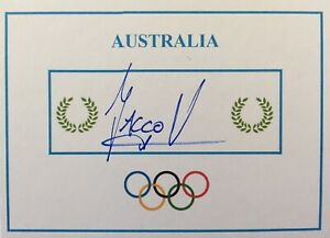Jacco Verhaeren SIGNED Olympic Games card. GOLD. Australia swimming.
