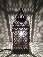 * NEW VINTAGE BRONZE MOROCCAN METAL LANTERN table lamp home gift .
