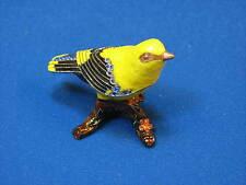 Cloisonne Bird Yellow Finch Canary Trinket Box Branch Cherie Amour Enamel Dish