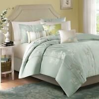 Madison Park Athena Queen Size Bed Comforter Set Bed in A Bag - Seafoam Green, F