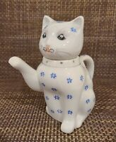 Charming Vintage Kitty Cat Lidded Porcelain Teapot White with Blue Flowers