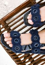 New Women's TORY BURCH Blue Freya Eyelet Flat Sandals Size 8.5M