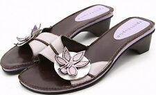 Apostrophe Womens Sandals 7.5 Lavendar Leather Dress Flower Slides Heels