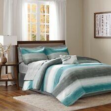 Aqua Blue Grey Watercolor Cottage Beach House Coastal Twin Comforter Set- 7 Pc