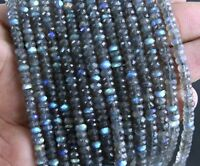 Best Quality 1 Strand Natural Labradorite Rondelle Faceted Beads 4.5-5.5 MM