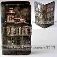 For Apple iPhone Series - Haunted House Print Wallet Mobile Phone Case Cover