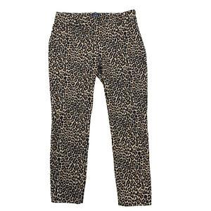 J Crew Leopard Print Winnie Cropped Pant Women Size 4 Cotton Stretch Side Zip