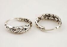 925 Sterling Silver Bali Style Filigree Huggie Hoop Earrings 18.5mm A1389