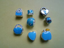 8 x enamel charms/beads, turquoise blue, one with clear gems , CLEARANCE SALE