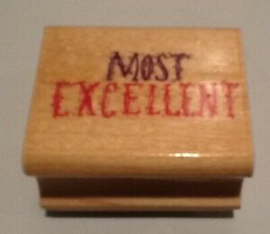 Rubber Stamp X3 Most Excellent Outstanding Big Improvement Teachers Wood Mount