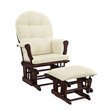 New listing Angel Line Windsor Glider and Ottoman, Cherry Finish and Beige Cushions