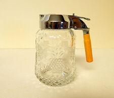 Heisey Plantation Drip Cut Syrup Pitcher with Ivy Etch and Bakelite Handle