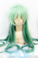 399 Amnesia UKYO green mix 100cm Long straight Cosplay Costume Braided Wig