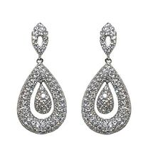 Pave Encrusted Clear AAA Cubic Zirconia Dome Style Tear Drop Dangle Earrings