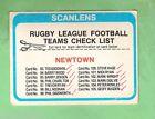 1979 NEWTOWN JETS SCANLENS RUGBY LEAGUE CHECKLIST CARD - MARKED