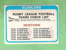 1979  NEWTOWN JETS  SCANLENS RUGBY LEAGUE CHECKLIST CARD - MARKED