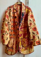 Stunning Colourful Reversible Indian Kantha Quilted Hand Block Printed Jacket  L
