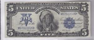 1899 $5 Silver Certificate Five Dollar Indian Chief Large Note Fr. 278
