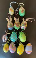 Lot 12 Bunny Rabbit decoupage paper mache Easter Egg Shaped ornaments Decor