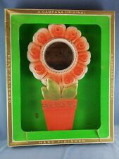 Vintage Campana Art Chalkware Flowerpot Wall Hanging with Mirror Center Nrfb