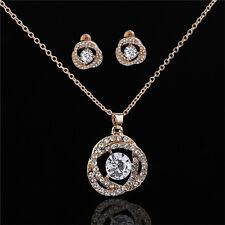 Ladies Trendy Jewelry Set Crystal Rhinestone Pendant Necklace and Earrings Set