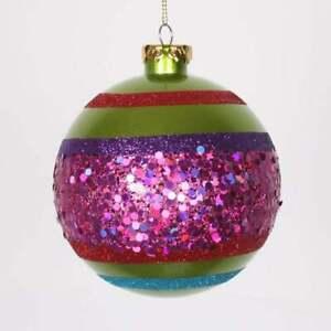 "Vickerman 4ct Lime Green & Cerise Pink Shatterproof Christmas Ball Ornaments 4"""